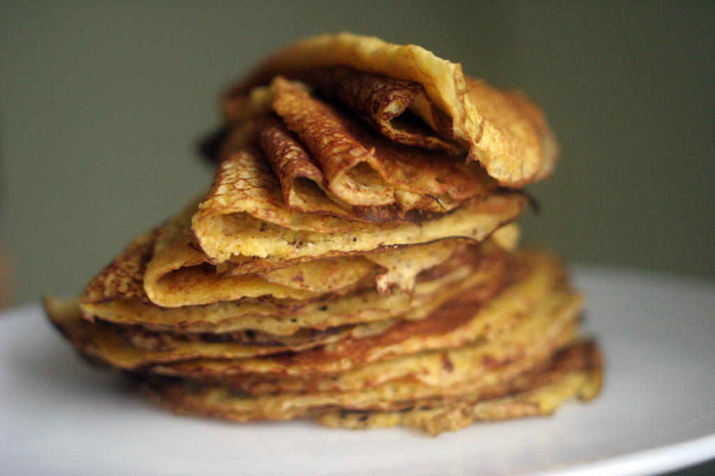 Ellie Markovitch stacked flat circles and made them a lovely tower of corn crepes.